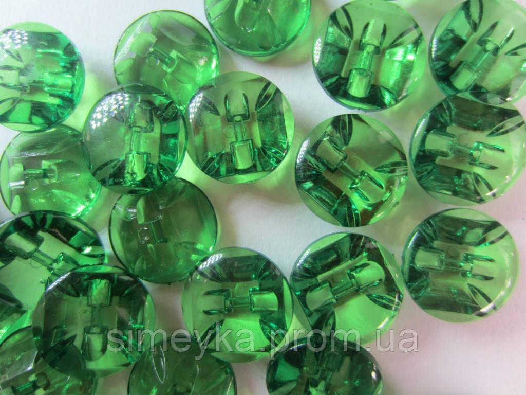 Камень-пуговица акриловая пришивная 16 мм зелёная, 1 шт.