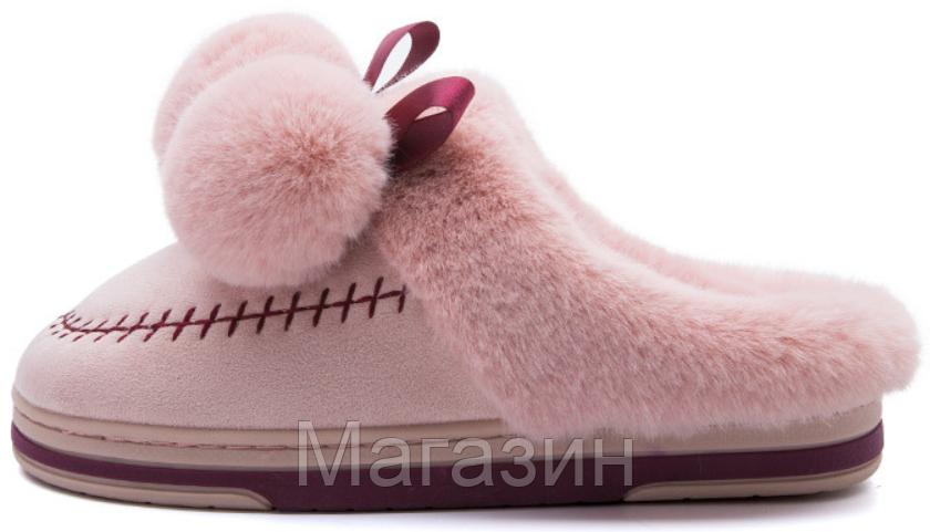"""Домашние теплые тапочки с помпонами Furry Bells """"Pink"""" розовые размер 36"""