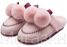 """Домашние теплые тапочки с помпонами Furry Bells """"Pink"""" розовые размер 36, фото 2"""