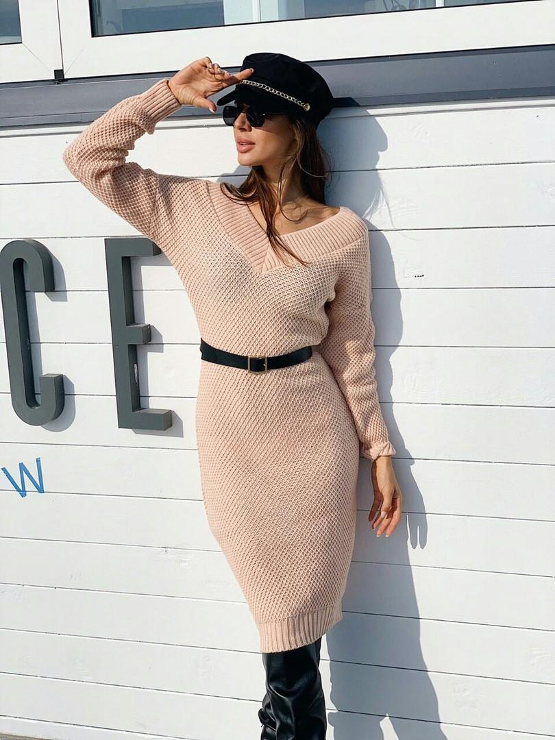 Стильное женское теплое платье,персикового цвета
