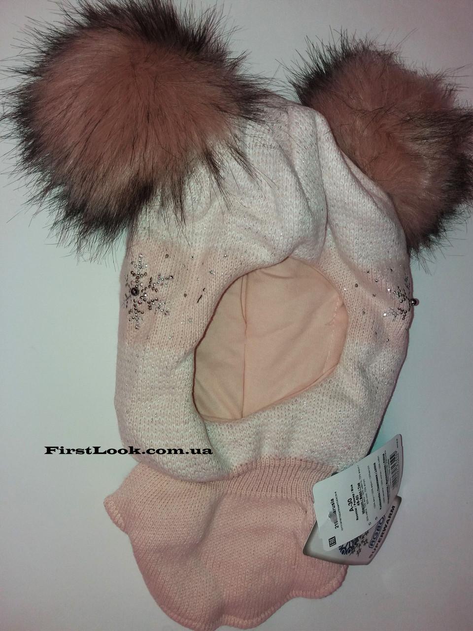 Детская зимняя шапка-шлем на девочку (4-6 лет)