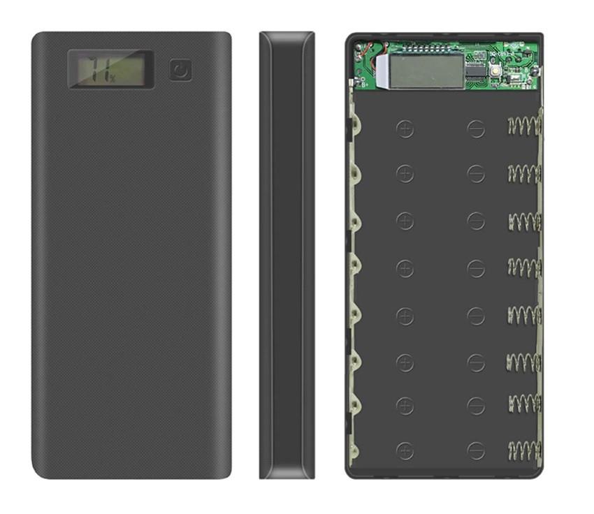 Корпус для Power bank на 8 аккумуляторов 18650 (Черный)