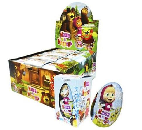 """Прозрачное яйцо """"Маша и медведь"""" игрушка с сахарным драже 60гр."""