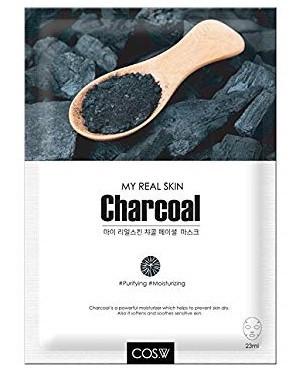 COS.W   Тканевая маска для лица с древесным углем My Real Skin Charcoal Facial Mask