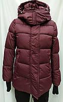 Куртка женская с шарфом, бордового цвета, сезон осень/зима