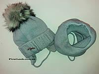 Зимний детский комплект шапка и снуд на девочку.(4-7 лет), фото 1
