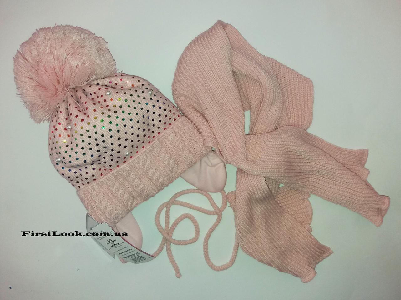 Зимний детский комплект шапка и шарф на девочку.(4-7 лет)