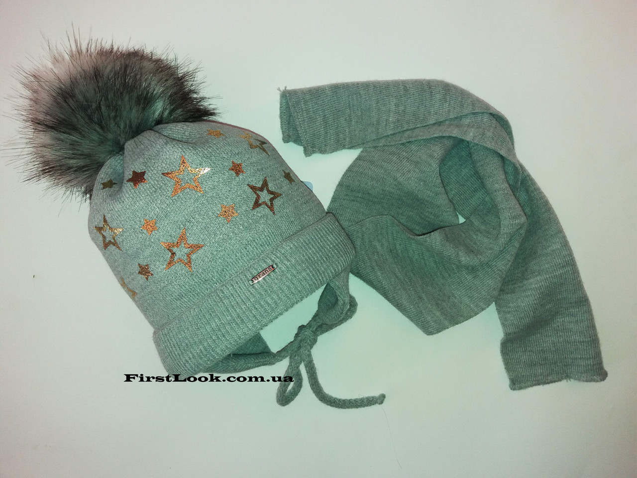 Детский зимний комплект шапка и шарф на девочку.(2-3 года)