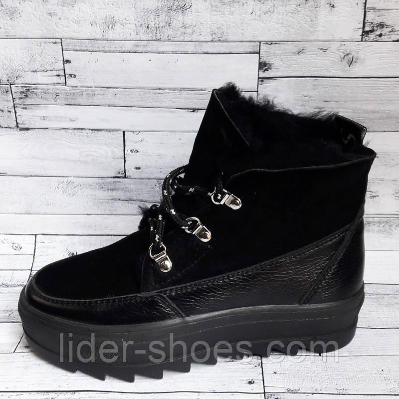 Женские зимние ботинки на танкетке черные