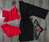 Женский хлопковый комплект тройка для сна и дома, шорты майка и халат