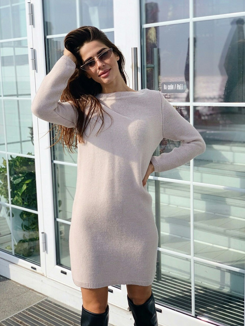 Женское стильное вязаное теплое платье