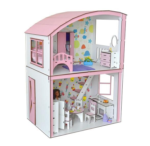 Домик для кукол Барби 3123 Уютная вилла с мебелью, обоями и текстилем. 2 этажа
