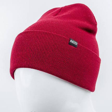 Молодежная шапка Рожки Nord вишневый, фото 2