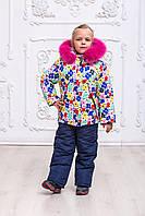Красивый зимний комбинезон для девочек  с опушкой из натурального меха  на рост с 92 см до 110 см