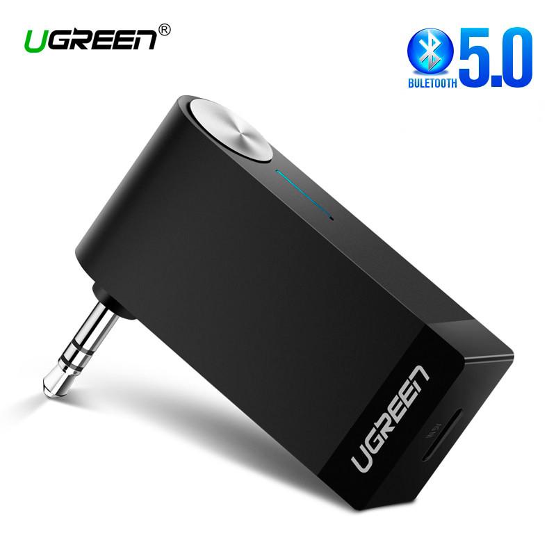 Беспроводной Bluetooth 5.0 приемник Ugreen с AUX выходом 3.5 мм с микрофоном для автомагнитол, дом.театров