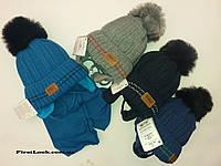 Детский зимний комплект шапка и шарф на мальчика.Польша(3-4 года)