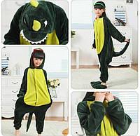 ✅ Детская пижама Кигуруми Зеленый дракон (Динозавр, крокодил) 140 (на рост 138-148см)
