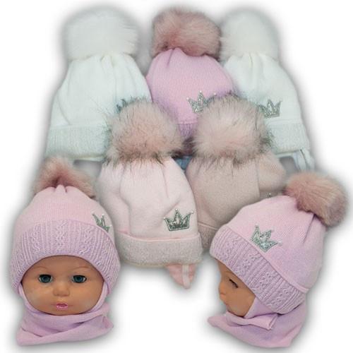 Детский комплект - шапка и шарф для девочки, р. 42-44
