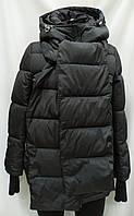 Куртка женская с шарфом, черного цвета, сезон осень/зима