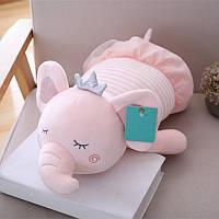 Мягкая игрушка - подушка Сонный слоник, розовый, 50см Berni