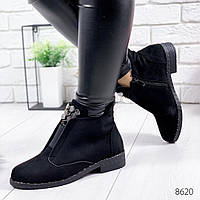 Женские замшевые демисезоные ботинки на низком каблуке, ОВ 8620