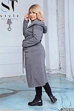 Пальто жіноче демісезонне сіре великі розміри: 50-52,54-56,58-60, фото 2