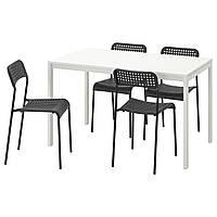 IKEA Стол и 4 стула, белый, черный