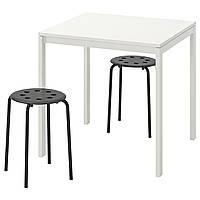 IKEA Стол и 2 табурета, белый, черный