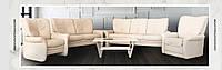 Комплект мягких кожаных диванов-реклайнер