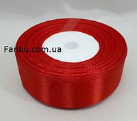 Стрічка атласна яскраво червона однотонна (ширина 2.5 см)1 рул-22м, фото 1