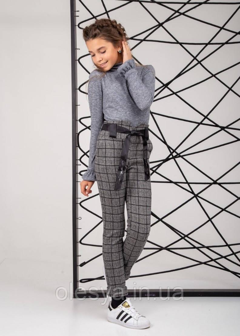 Брюки школьные модные с завышенной талией, клетка размеры 134, 152