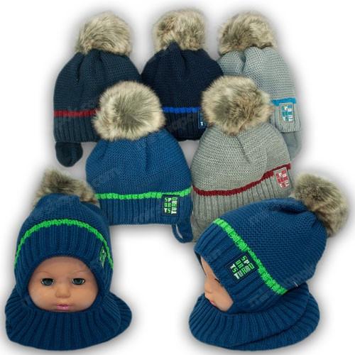 Детский комплект - шапка и шарф для мальчика, р. 48-50