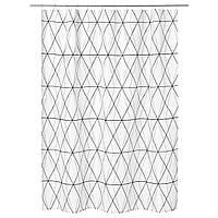 IKEA Штора для ванной, белый черный, серый