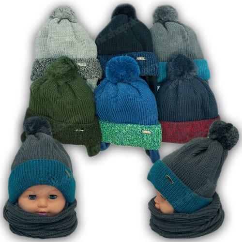Детский комплект - шапка и шарф для мальчика, р. 46-48
