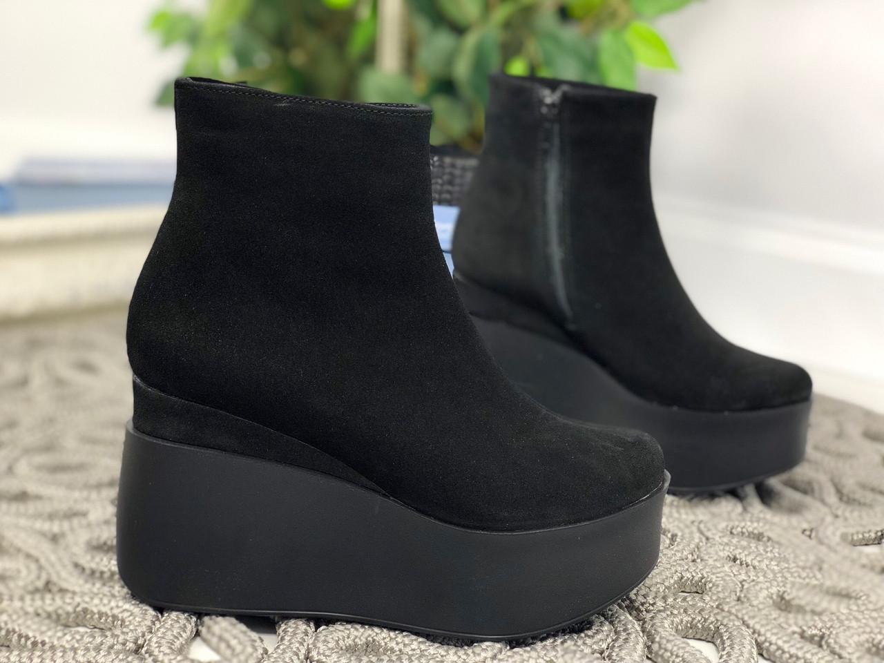 37 р. Ботинки женские деми черные замшевые, демисезонные, из натуральной замши,натуральная замша