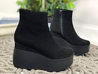 37 р. Ботинки женские деми черные замшевые, демисезонные, из натуральной замши,натуральная замша, фото 1