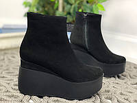 38 р. Ботинки женские деми черные замшевые, демисезонные, из натуральной замши,натуральная замша, фото 1