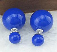 Серьги-пусеты Mise en Dior синие глянцевые