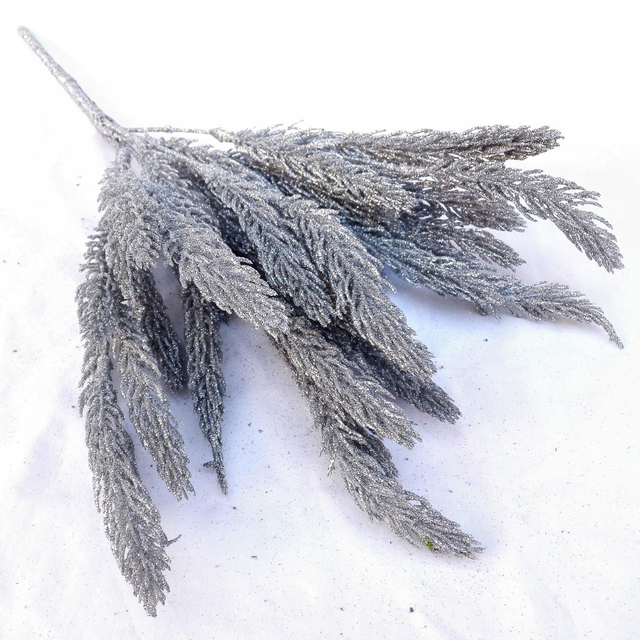 Ель в глиттере серебро 38 см( 2 шт в уп)