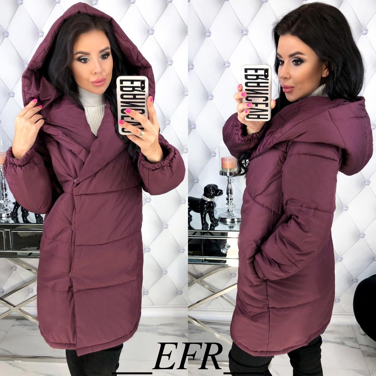 Женская теплая объемная курточка на кнопках
