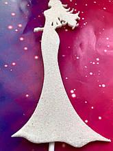 Топпер на торт Девушка в платье , Топер девушка на торт, Топер девушка в блестках, Fortune3D