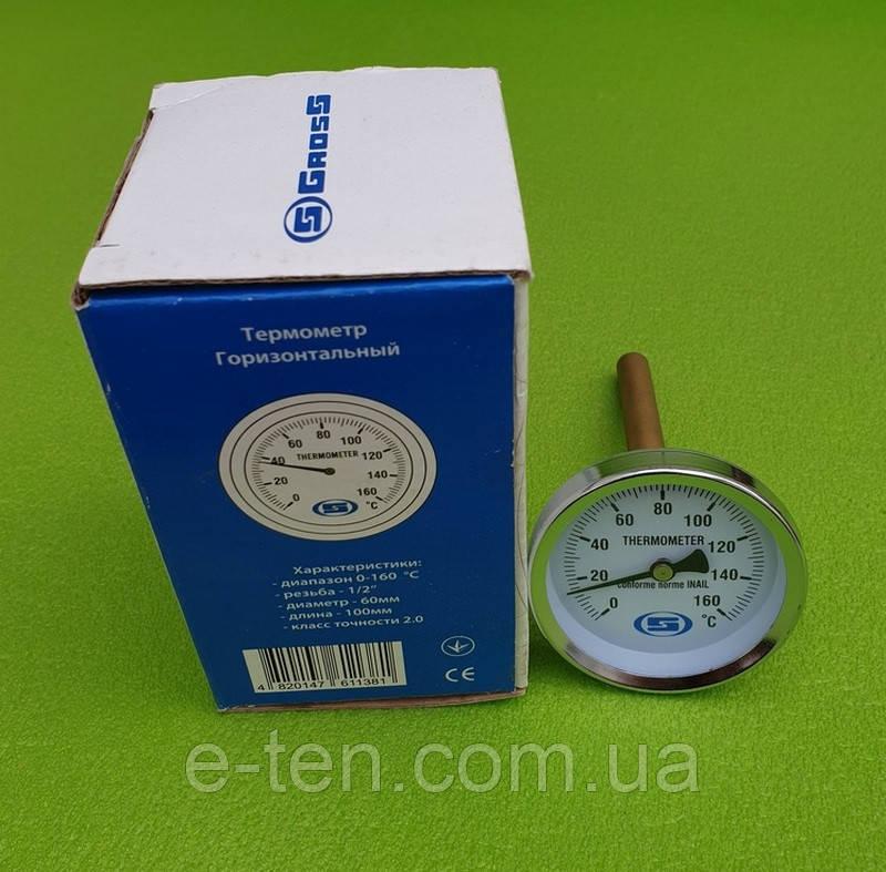 """Термометр осьової трубчастий GROSS Ø60мм / діапазон 0°С - 160°С / трубка 100 мм (з різьбою 1/2"""") горизонтальний"""