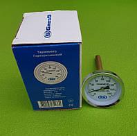 """Термометр осьової трубчастий GROSS Ø60мм / діапазон 0°С - 160°С / трубка 100 мм (з різьбою 1/2"""") горизонтальний, фото 1"""