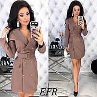 Классическое двубортное платье-пиджак с поясом