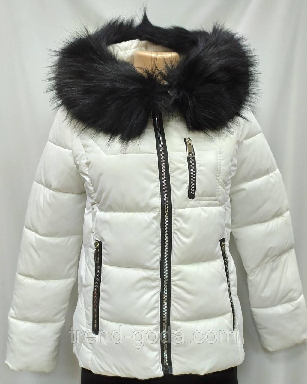 Куртка белая женская  с ромбовидными узорами, сезон осень-зима