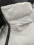 Куртка белая женская  с ромбовидными узорами, сезон осень-зима, фото 4