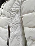 Куртка белая женская  с ромбовидными узорами, сезон осень-зима, фото 6