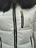 Куртка белая женская  с ромбовидными узорами, сезон осень-зима, фото 7