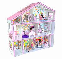 Домик для кукол Барби на 3 этажа с мебелью