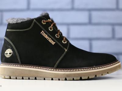 Зимние черные ботиночки из нубука
